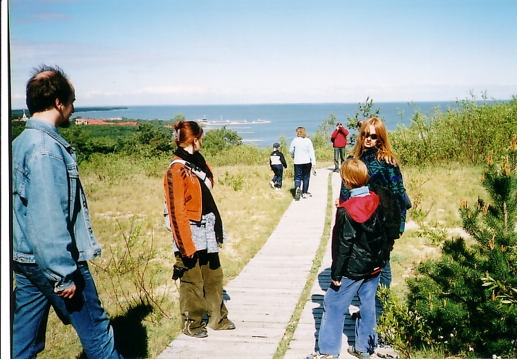 My family in Nida in May of 2004, walking down a dune towards the Curonian Lagoon.