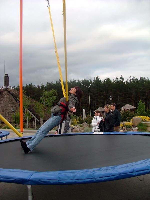 Mom really enjoyed bouncing.