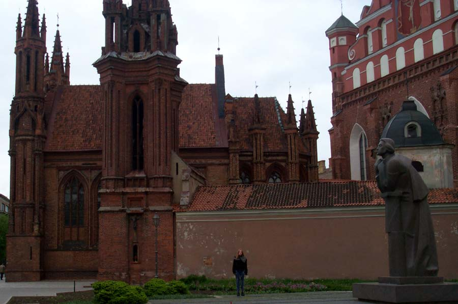 A side view of the St. Ann's church (left) and the adjacent Bernardine monastery