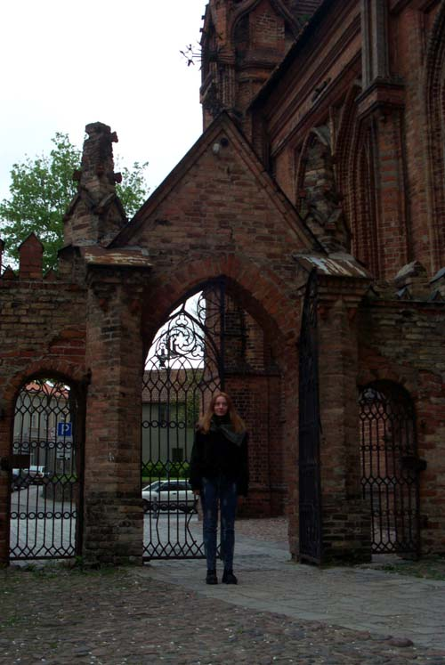 Me in the courtyard of St. Ann's church in Vilnius, Lithuania