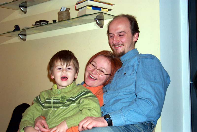 My brother J with his wife E and their younger son D