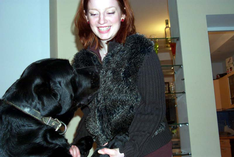 My sister M with my brother's dog (May 2004)