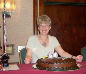 Mary Doria Russell with 50th birthday cake