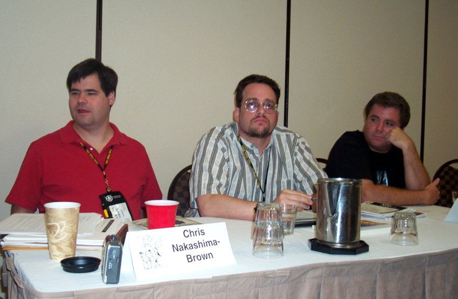 Lawrence Person, Rick Klaw and Mikal Trimm at the Slipstream panel at the ArmadilloCon 2004