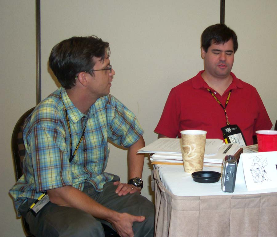 Chris Brown and Lawrence Person at the ArmadilloCon 2004 panel on slipstream