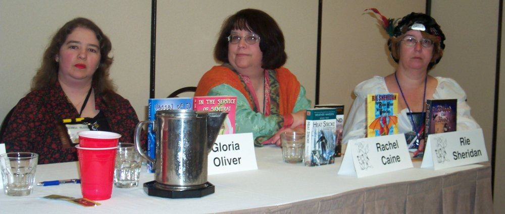 Gloria Oliver, Rachel Caine, Rie Sheridan at the worldbuilding panel at the ArmadilloCon 2004