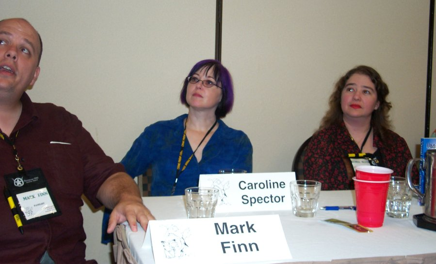 Mark Finn, Caroline Spector and Gloria Oliver at the worldbuilding panel at ArmadilloCon 2004