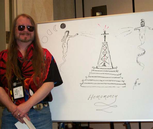 R. Cat Conrad and his drawing of the blood magic world at ArmadilloCon 2004