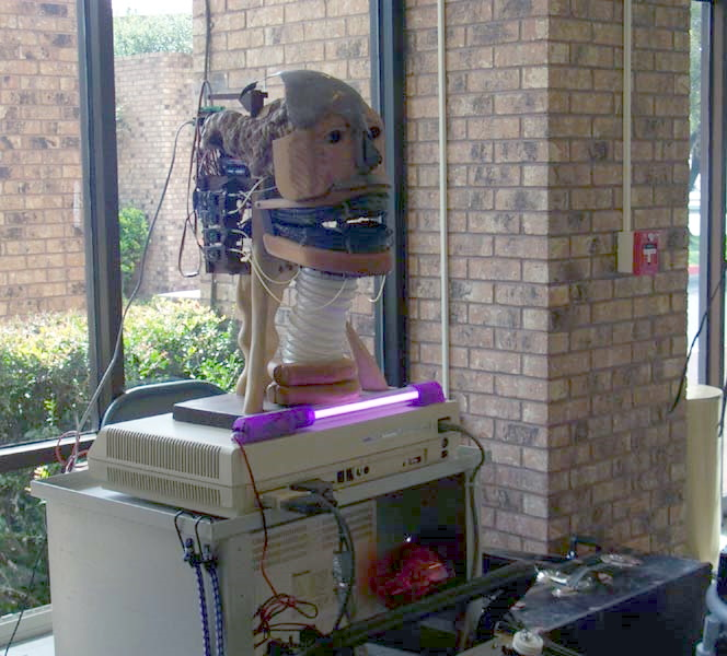 The Babbling Robot Head, a Robot Group project exhibited at Linucon 2004. Austin, Texas, October 2004