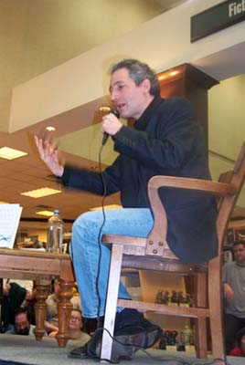 "Brian Greene gives a talk and Q&A at a Barnes & Noble in Austin while promoting his book ""The Fabric of Cosmos"" in March of 2005."