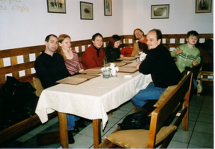 Family eating in Trakai