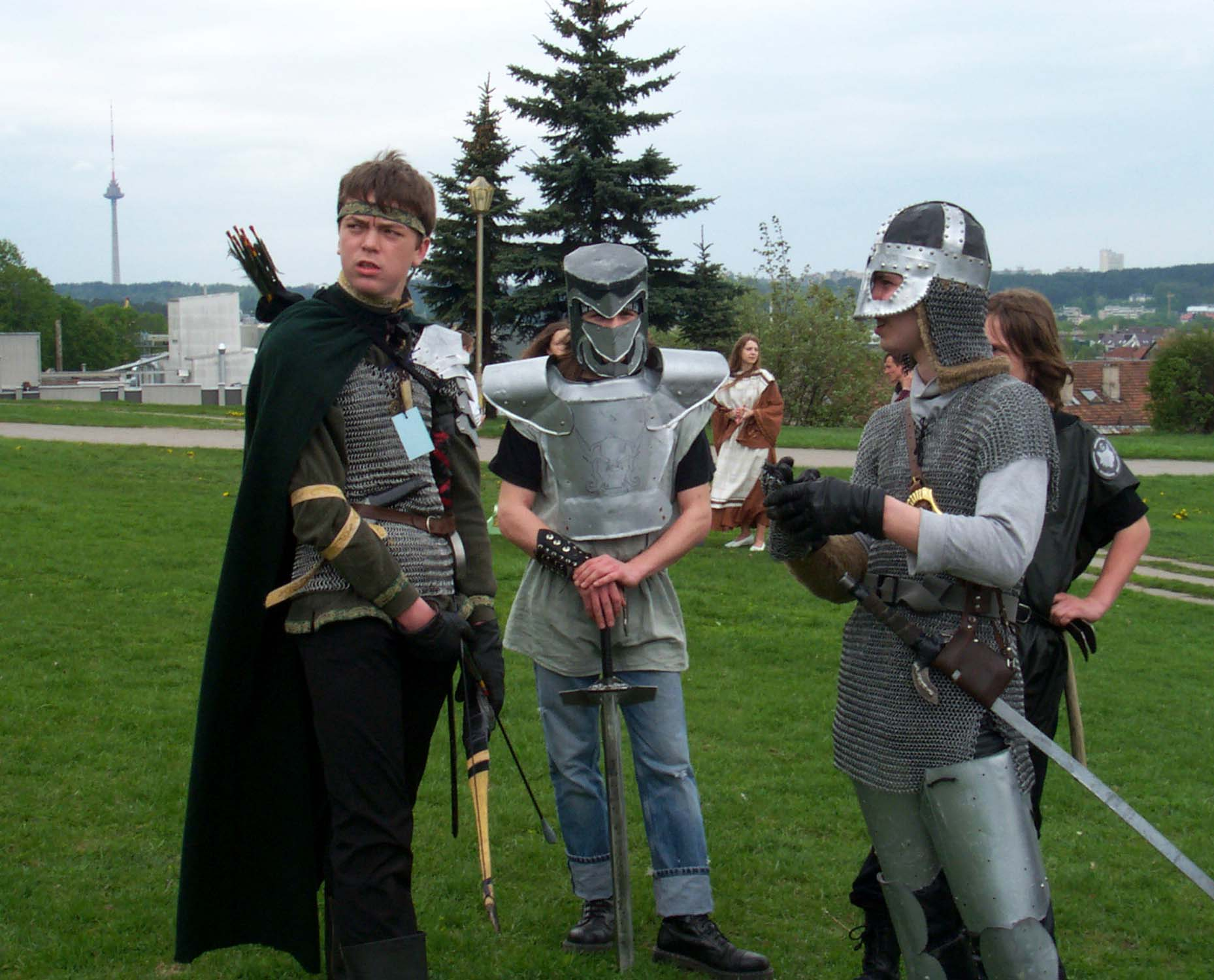 "Players prepare for live role-playing game ""The Rage of Blood and Fire"" at the Lituanicon 2004 in Vilnius, Lithuania. It was not so much a game as a show put on for the viewers' entertainment."