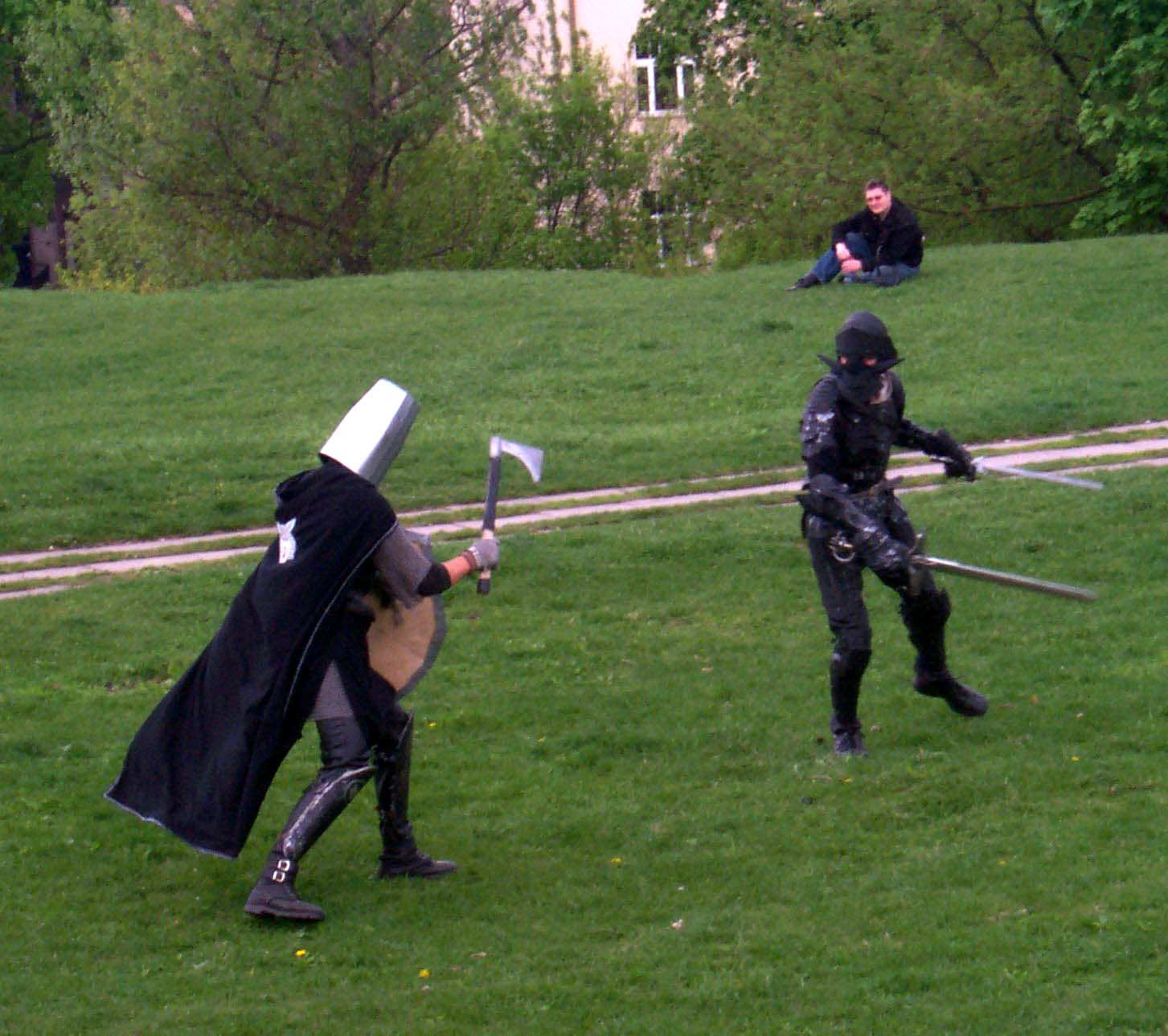 "A duel kicks off a live role-playing game, or more like a show, ""The Rage of Blood and Fire"" at Lituanicon 2004, a science fiction convention in Vilnius, Lithuania, May 2004"