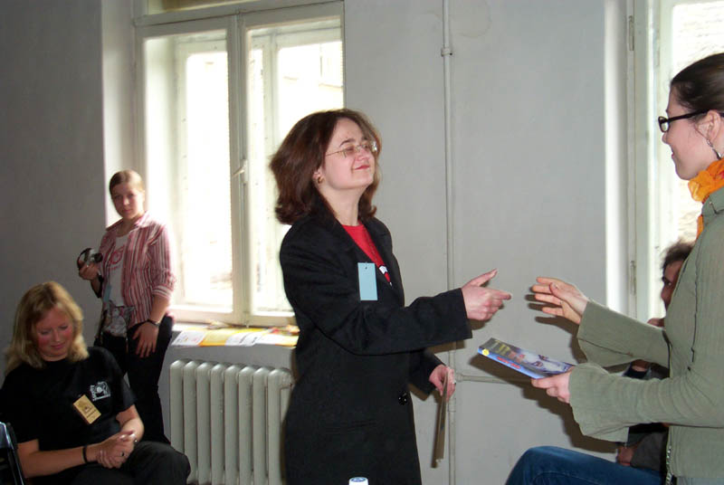 """Award ceremony for short story contest """"The futures of Lithuania"""" discuss their judging criteria at the Lituanicon 2004, a science fiction convention in Vilnius, Lithuania in May of 2004."""