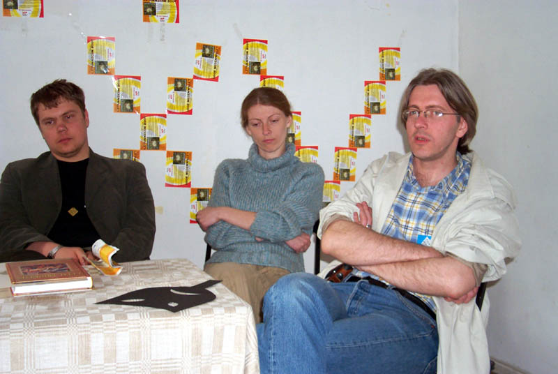 """The judges of the short story contest """"The futures of Lithuania"""" discuss their judging criteria at the Lituanicon 2004, a science fiction convention in Vilnius, Lithuania in May of 2004."""