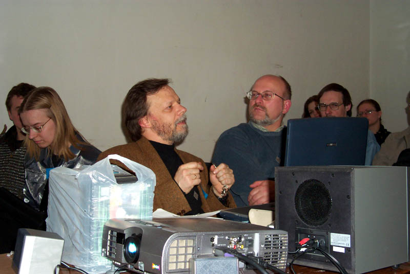Romas and Kastytis give a presentation on the potential futures of Lithuania at Lituanicon 2004, a science fiction convention in Vilnius, Lithuania in May of 2004