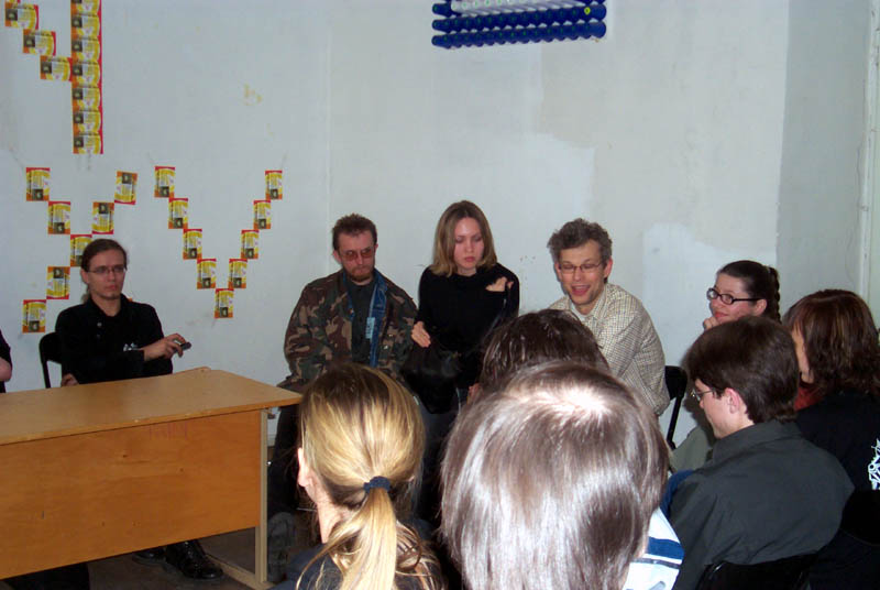 Lithuanian science fiction fandom board meeting at Lituanicon 2004, a science fiction convention in Vilnius, Lithuania, May 2004