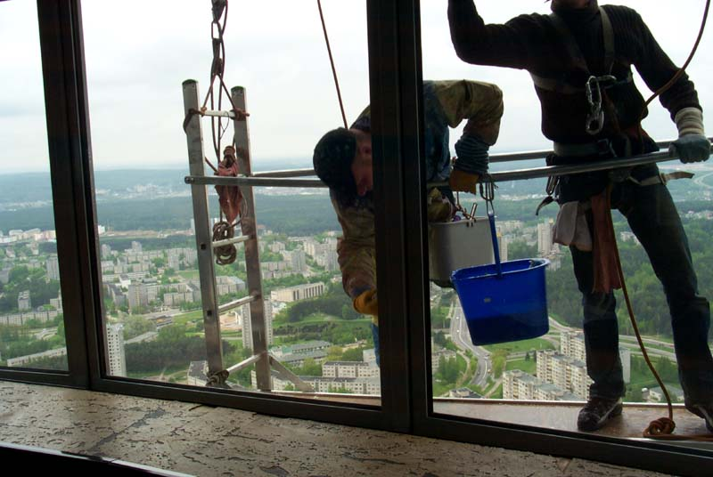 Window washers on the outside of Vilnius TV tower