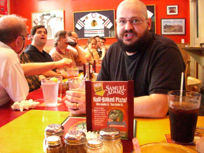 Charles Stross at the pizza lunch at the pizza lunch at ArmadilloCon 2005 in Austin, Texas