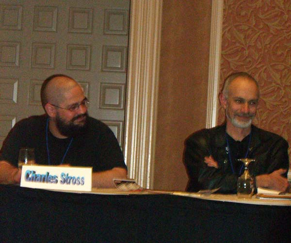 Writers Charles Stross and Sean McMullen (right) at the ArmadilloCon 2005 opening ceremony, Austin, TX 2005