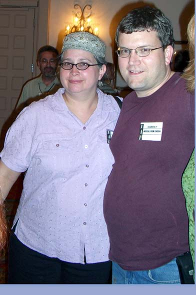 "Kim Kofmel and ""Micheal from Fencon"" (so his badge says) at the ArmadilloCon 2005 in Austin, Texas"