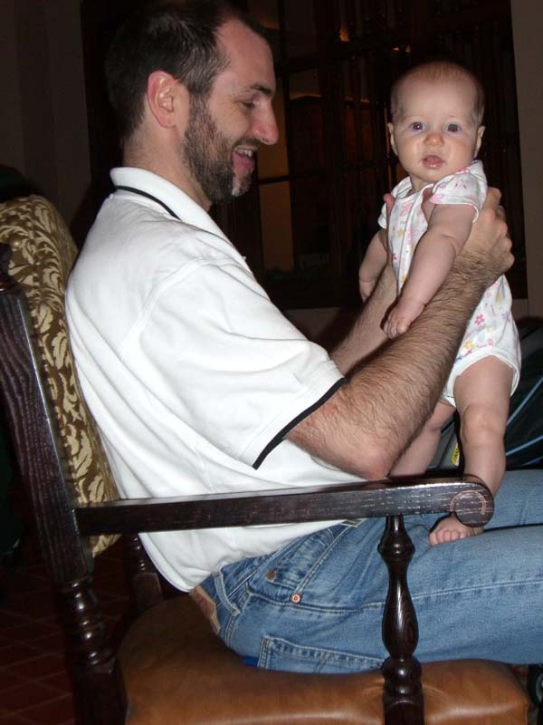 Three months: with dad at ArmadilloCon, an Austin science fiction convention. August 2005