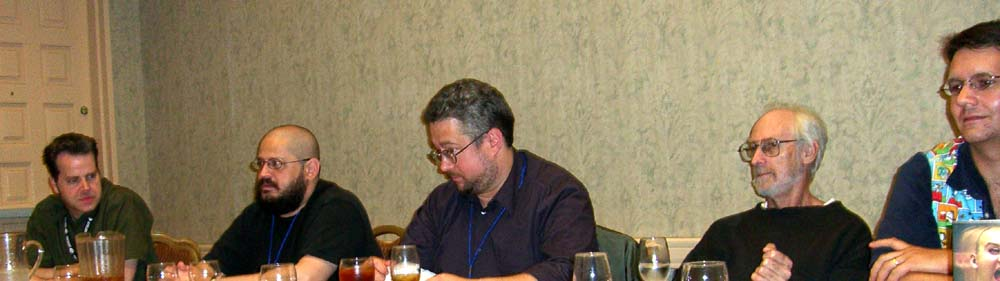 Space Opera panel at the ArmadilloCon 2005. Left to right: Chris Robertson, Charles Stross, Jim Minz, Sean McMullen, Jayme Lynn Blaschke. Austin, TX 2005