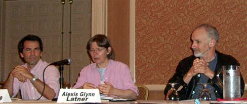 "John Moore, Alexis Glynn Latner and Sean McMullen at the ""When and How Will the 21st Century Get More Interesting?"" panel at the ArmadilloCon 2005, Austin, TX, 2005"