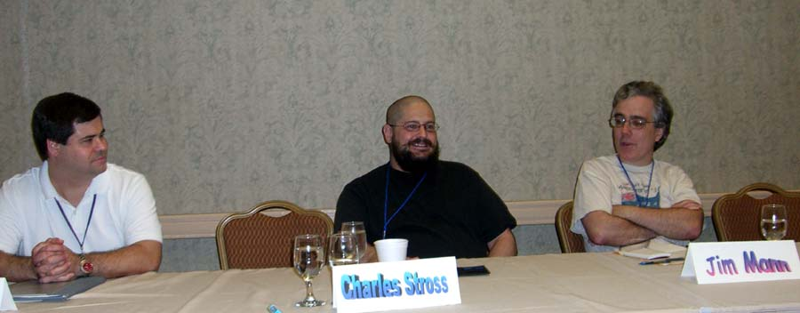 Left to right: Lawrence Person, Charles Stross and Jim Mann at the British science fiction panel at ArmadilloCon 2005, Austin, Texas 2005