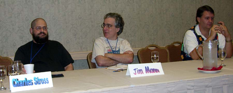 CIMG0179 Left to right: Charles Stross, Jim Mann and  Jayme Lynn Blaschke at the Current Trends in British science fiction panel at ArmadilloCon 2005