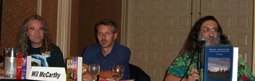 Left to right: David Lee Anderson, Wil McCarthy, Ctein at the What's Happening in Outer Space panel at ArmadilloCon 2005