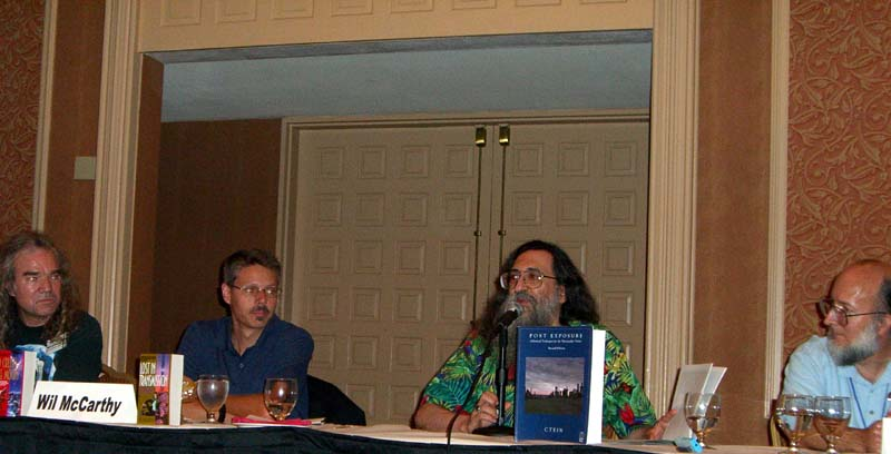 Left to right: David Lee Anderson, Wil McCarthy, Ctein, John Gibbons at the What's Happening in Outer Space panel at ArmadilloCon 2005