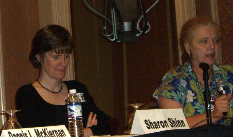 "Sharon Shinn (left) and Nancy Jane Moore at ArmadilloCon 2005 panel ""Why we write fantasy"", Austin, Texas 2005"