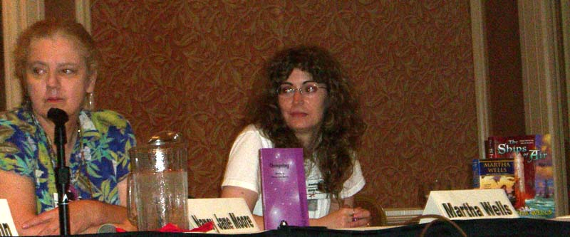 "Nancy Jane Moore (left) and Martha Wells at ArmadilloCon 2005 panel ""Why we write fantasy"", Austin, Texas 2005"