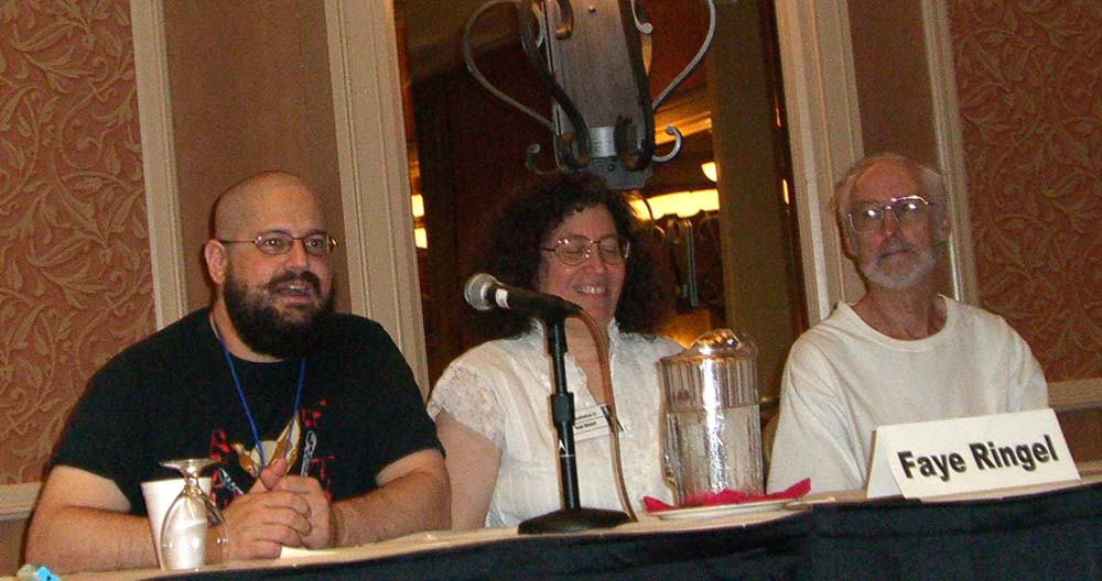 """Left to right: Charles Stross, Faye Ringel and Damien Broderick at the """"The New Weird Movement in SF Literature"""" panel at the ArmadilloCon 2005"""