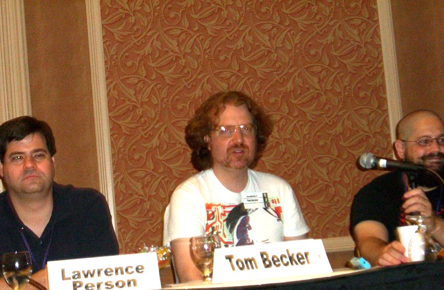 """Left to right: Lawrence Person, Tom Becker, Charles Stross at the """"The New Weird Movement in SF Literature"""" panel at the ArmadilloCon 2005"""