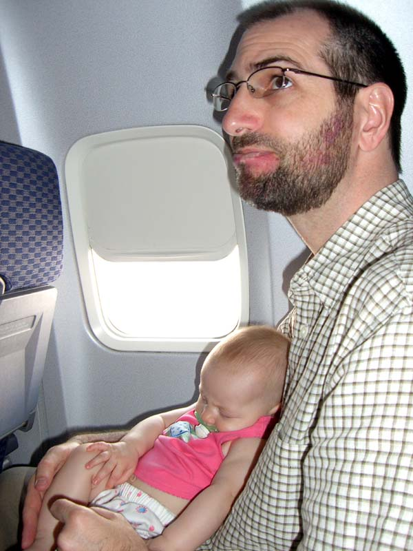 S and E on the plane, August 2005