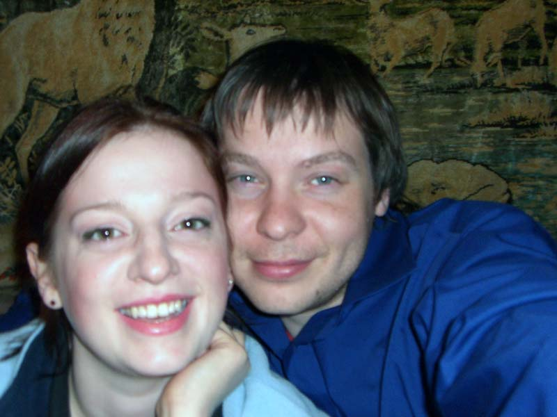 "My sister M and her then-boyfriend-now-husband P at the Chili Kaimas / ""Chili Village"" restaurant in Vilnius, August 2005"
