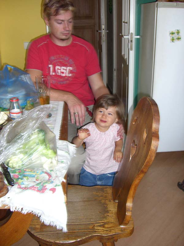 Another picture of the little A with her dad, August 2005