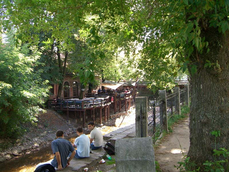 A cafe on the Vilnia river in the Uzupis district of Vilnius, Lithuania, in September of 2005
