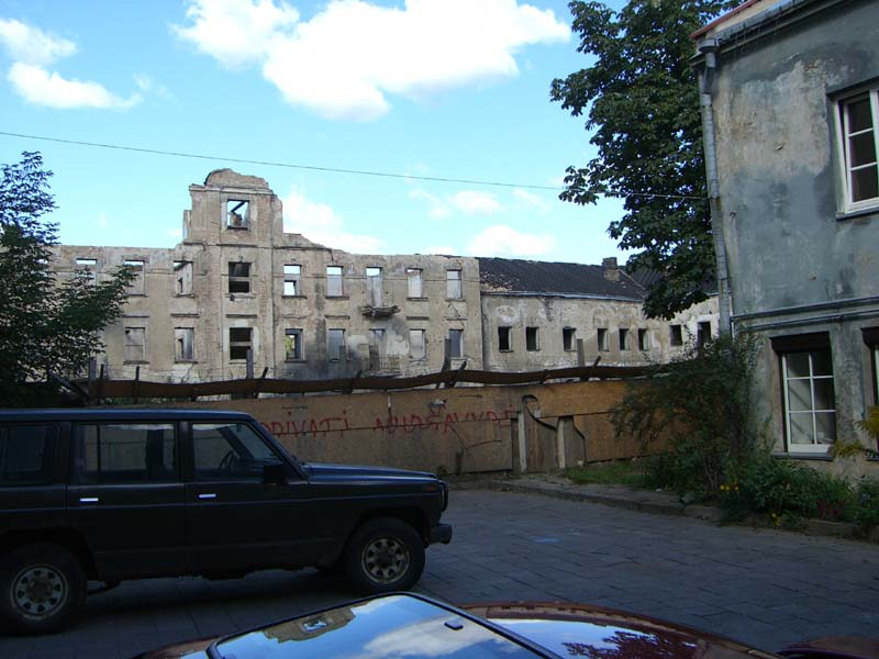 Castle-shaped ruins in the Uzupis district of Vilnius, Lithuania, in September of 2005