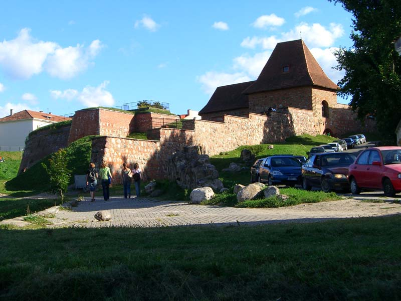 A restored medieval defense wall in the Old Town of Vilnius, Lithuania, August of 2005