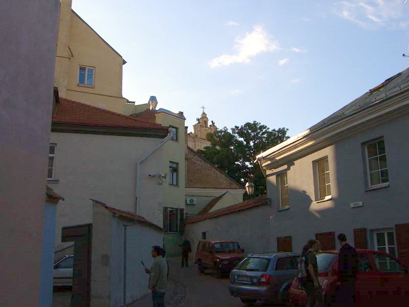 The intersection of Rusu and Latako streets in Vilnius Old Town, August 2005