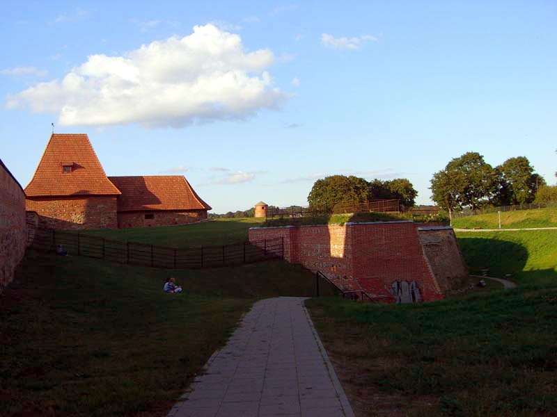 Another view of the recently restored medieval defense wall in the Old Town of Vilnius, Lithuania, September 2005