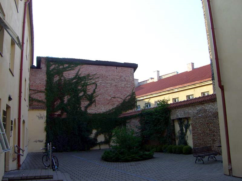 A Vilnius Old Town courtyard with a vine-covered wall, September 2005