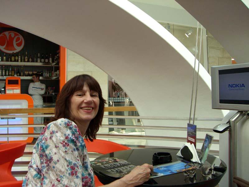 Mom in the ovoid cafe, September 2005
