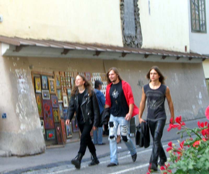 More goths on Pilies street in Vilnius Old Town, September 2005