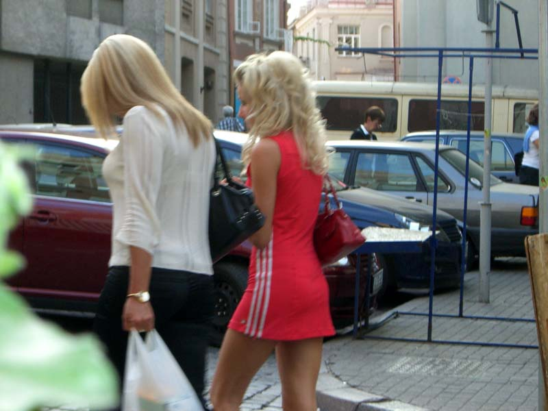 A red dress with white stripes, Vilnius Old Town, September 2005