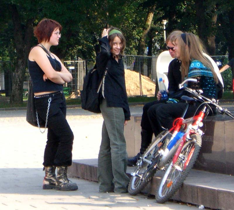 Gothy-looking people in the Cathedral square in Vilnius Old Town, September 2005