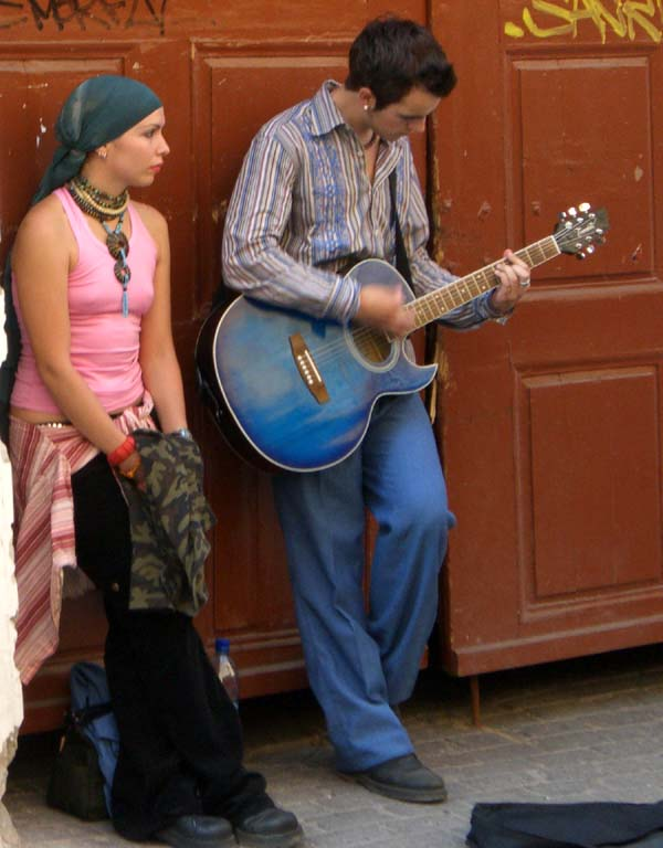Street musicians in the Pilies street in Vilnius Old Town, September of 2005.